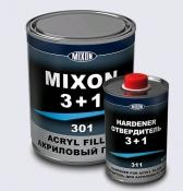 Акриловый порозаполняющий грунт MIXON 3+1 (1 л) + отвердитель (0,33л), черный