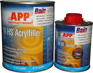 Купить 020408 2К Акриловый грунт APP HS Acryfiller 5:1 (1л) + отвердитель APP HS Harter ХFHN (0,2л), серый - Vait.ua
