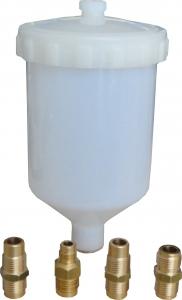 Купить Бачек пластиковый для краскопульта Corcos 600мл + набор переходников - Vait.ua
