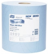 130081 Трехслойная протирочная бумага Tork Advanced 440, 119м, 350 листов, голубая