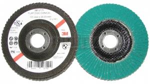Купить 64857 Круг лепестковый торцевой конический 3М 577F для углеродистой стали и твердых металлов 125мм х 22мм, Р80 - Vait.ua