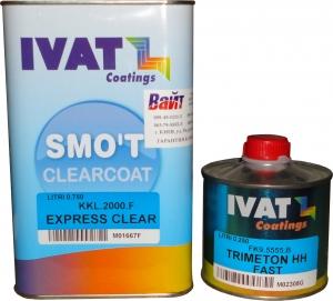 Купить 2К акриловый быстросохнущий лак Ivat HS SMO'T EXPRESS CLEAR 3:1 KKL.2000.F (0,75л) + отвердитель FK9.5555.B (0,25л) - Vait.ua