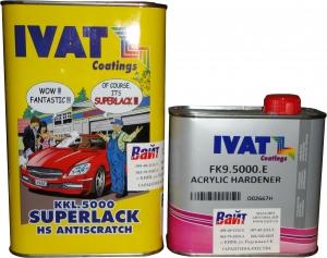 Купить 2К акриловый лак Ivat HS Antiscratch KKL.5000 (1л) + отвердитель FK9.5000 (0,5л) - Vait.ua