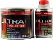 Акриловый 2К грунт 5:1 Ultra Novol Fuller 100 (0,4л) + отвердитель (0,08л), серый