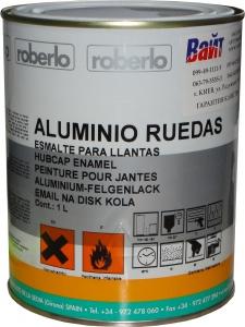 Купить Однокомпонентная эмаль Roberlo Aluminio ruedas (RAL-9006) для колесных дисков серебристая, 1л - Vait.ua