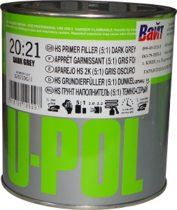Купить 2К Грунт-наполнитель HS 5:1 быстрый S2021 U-Pol темно-серый, 1л - Vait.ua