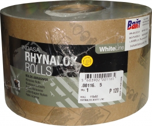 Купить Абразивная бумага INDASA RHYNODRY WHITE LINE (Белая линия) в рулонах стойкая к износу 115мм x 50м, P180 - Vait.ua