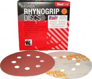 Купить Абразивный диск для сухой шлифовки INDASA RHYNOGRIP RED LINE (Красная линия), диаметр 125 мм, 8 отверстий, P40 - Vait.ua