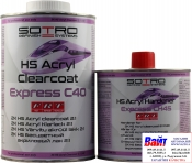 Лак бесцветный акриловый быстрый SOTRO HS 2:1Acryl Clearcoat Express C40 (1,0 л) в комплекте с отвердителем (0,5л)