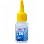 040509 Клей циано-акриловый APP C-610 (для резины, пластмассы и металлов), 20мл