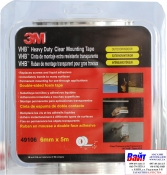 49106 3M Двусторонняя VHB клеющая лента 4910F толщина 1.0 мм, цвет прозрачный, 6мм х 5м