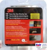 49109 3M Двусторонняя VHB клеющая лента 4910F толщина 1.0 мм, цвет прозрачный, 9мм х 5м