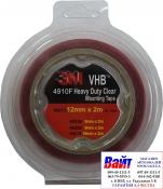 49212 3M Двусторонняя VHB клеющая лента 4910F толщина 1.0 мм, цвет прозрачный, 12мм х 2м