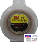 49359 3M Двусторонняя VHB клеющая лента 4905F толщина 0.5 мм, цвет прозрачный, 9мм х 3м