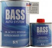 Грунт акриловый BASS HS 5+1 + отвердитель (0,8л+0,16л), серый
