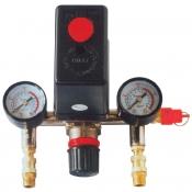Прессостат Intertool PT-9094 в сборе (прессостат, редуктор, 2 манометра, предохранительный клапан, два выхода)