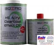 Лак бесцветный акриловый SOTRO 2K HS 2:1 Acryl Clearcoat Effect C10 (0,8 л) в комплекте с отвердителем (0,4л)