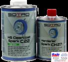T032210, SOTRO, SOTRO HS Acryl Clearcoat Spark C22, Двухкомпонентный бесцветный акриловый лак с высоким содержанием сухого остатка(HS - High Solid), 1л. + нормальный отвердитель (T032705)