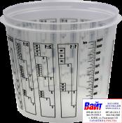 Т120024, SOTRO, Пластиковая мерная тара для смешивания красок и лаков с делениями 1100 мл