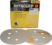 Абразивный диск для сухой шлифовки INDASA RHYNOGRIP PLUS LINE (Плюс линия) 6 отверстий, диаметр 125мм, Р100