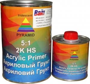 Купить Акриловый грунт-наполнитель PYRAMID HS 5:1 (0,8л) + отвердитель (0,16л), черный - Vait.ua