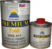 Акриловый грунт-наполнитель PYRAMID 7:40 Premium VHS 4:1 (1л) + отвердитель (0,25л), серый