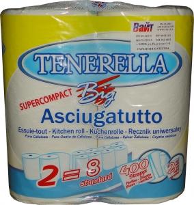 Купить Полотенце бумажное протирочное Tenerella Big Supercompact 2-х слойное, 23см х 20см, 400 отрывов, белое - Vait.ua
